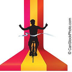 kerékpáros, befejezés, bicikli fut, -, nyerő, fogalom