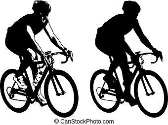 kerékpáros, skicc, ábra, és, árnykép