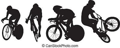 kerékpározás, és, bicikli, körvonal