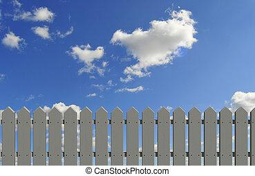 kerítés, és, ég