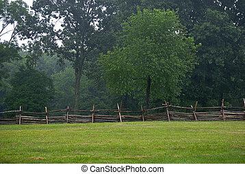 kerítés, és, mező