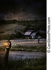 kerítés, hátborzongató, halloween táj, éjszaka, sütőtök