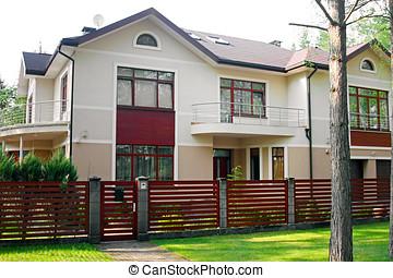 kerítés, nagy, zöld, fényűzés, épület, fű