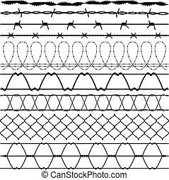 kerítés, szögesdrót, szögesdrót