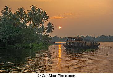Kerala,  backwaters,  India, salida del sol