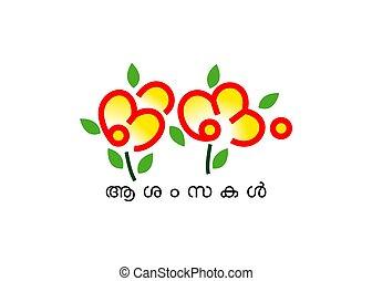 Kerala Festival Onam Malayalam Typography