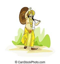 Kerala Onam festival Mahabali also known Maveli illustration vector