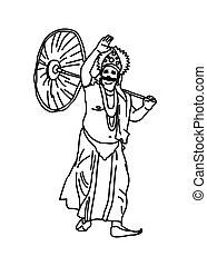 Kerala Onam festival Mahabali also known Maveli line drawing