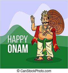 Kerala Onam Festival Mahabali also kown Maveli in Green field with Happy Onam Te