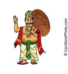 Kerala Onam Festival Mahabali also kown Maveli in White Background