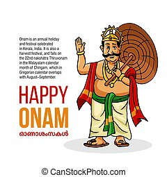Kerala Onam Festival Mahabali also kown Maveli in White Background with Happy On