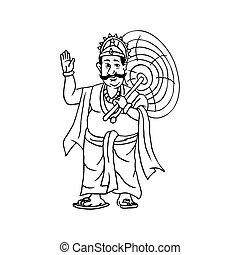 Kerala Onam Festival Mahabali also kown Maveli outline sketch