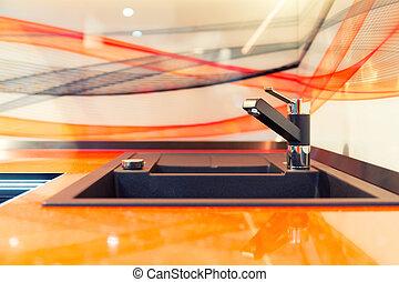 keramisch, orange, modern, sinken, kueche