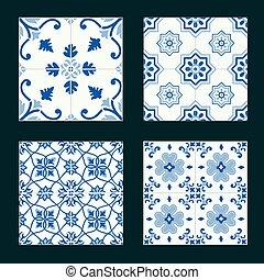 keramisk, årgång, tegelpanna, sätta, mosaik