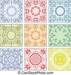 keramisk, fulländande, dekorativ, tegelpanna