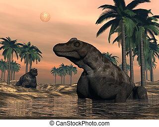 Keratocephalus dinosaurs - 3D render