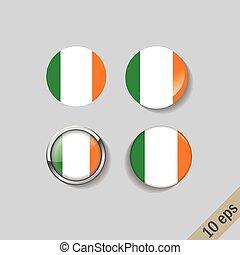 kerek, állhatatos, írország, zászlók, badges.
