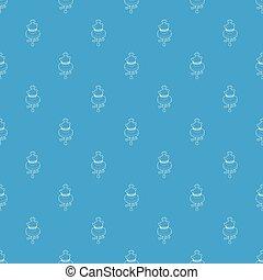 kerek, alacsony kávézóasztal, noha, egy, antik, váza, motívum, vektor, seamless, kék