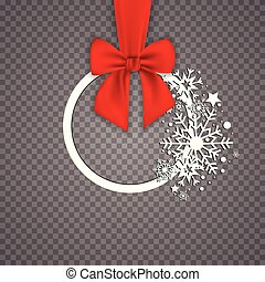 kerek, transzparens, noha, piros szalag, és, íj, elszigetelt, white, háttér., karácsonyfa, decoration., köszönés kártya, template.