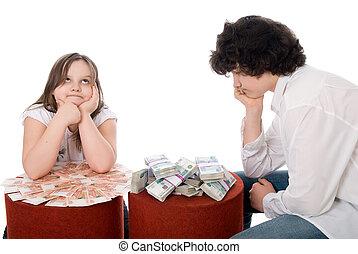 kerel, met, meisje, beschouwen, veel, van, geld
