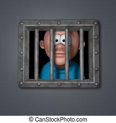 kerel, spotprent, gevangenis