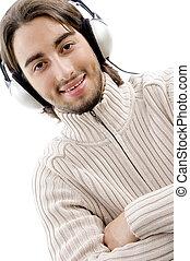 kerel, werkende, muziek, jonge, vrolijke