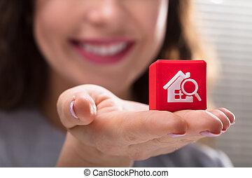 keres, nő, kocka alakú, birtok, otthon, tömb, ikon