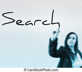 keres, szó, írott, által, üzletasszony