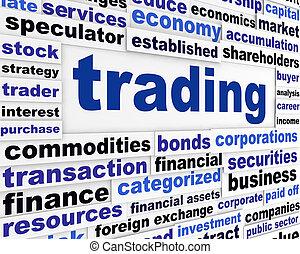 kereskedés, anyagi, szavak, tervezés