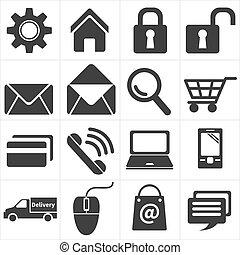 kereskedelem, bevásárlás, kelet, ikon