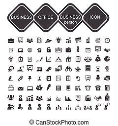 kereskedelmi ügynökség, és, üzletember, ikon