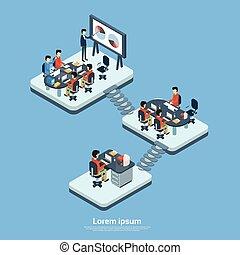 kereskedelmi ügynökség, emelet, társaság, modern, belső, ...