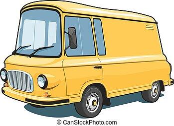 kereskedelmi, furgon, karikatúra, sárga