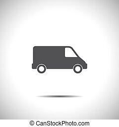 kereskedelmi, vektor, furgon, ikon