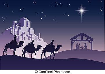 keresztény, christmas nativity táj