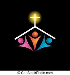 keresztény, család, ikon