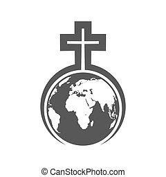 keresztény, felett, kereszt, ábra, vektor, earth., földgolyó