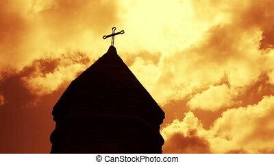 keresztény, felett, timelapse, templom, elhomályosul, bástya...