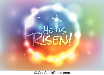 keresztény, húsvét, emelkedett, ábra