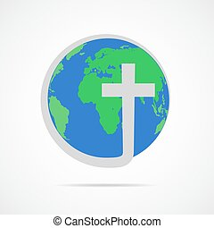 keresztény, illustration., földgolyó, kereszt, vektor, earth., ikon