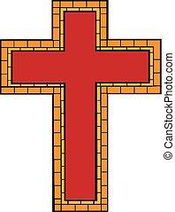 keresztény, illustration., isolated., szórakozottan firkálgat, kereszt, kéz, kereszt, vektor, húzott, rajz, style., karikatúra, piros