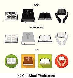 keresztény, jámbor, stock., gyűjtés, vektor, ábra, logo., könyv, ikon