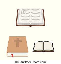 keresztény, jámbor, stock., gyűjtés, vektor, tervezés, logo., könyv, ikon