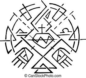 keresztény, jelkép, közül, jézus, szent szív, és, kézbesít
