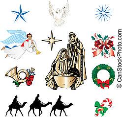 keresztény, karácsony, ikonok
