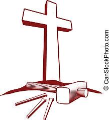 keresztény, kereszt, és, kalapács