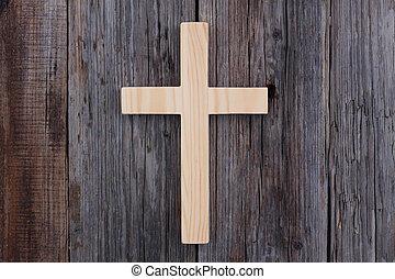 keresztény, kereszt, öreg, erdő, fából való, háttér,...