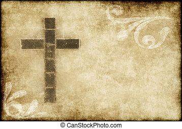 keresztény, kereszt, képben látható, pergament