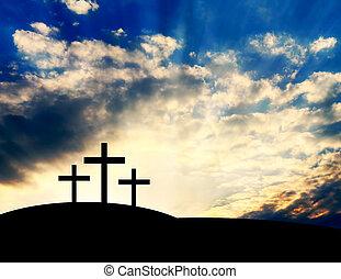 keresztény, keresztbe tesz, képben látható, a, hegy