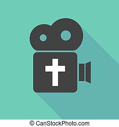 keresztény, mozi, kereszt, hosszú, fényképezőgép, árnyék